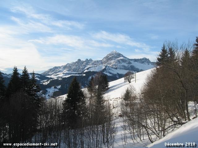 Les Aravis et le Mont Charvin depuis la fin de la piste