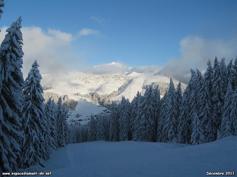 Le début de la piste avec la pointe du Mont Blanc qui dépasse des nuages