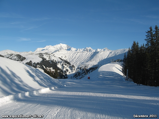Départ au sommet du Mont Rond avec vue sur le Mont Blanc