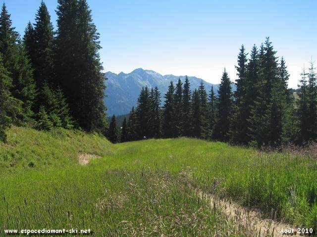 Passage sur la piste hivernale Accès Chenavelle avec le Mont Mirantin en arrière plan