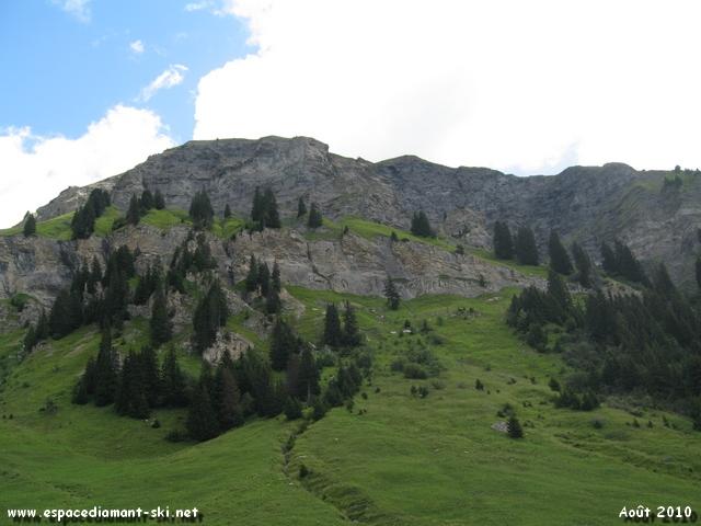 A gauche, le massif du Mont des Acrays