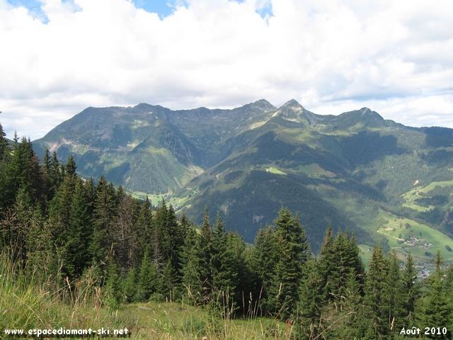 Le massif du Mirantin à droite