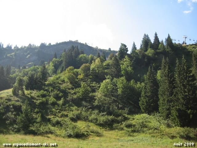 Vue sur les pentes escarpées du massif du Vorès