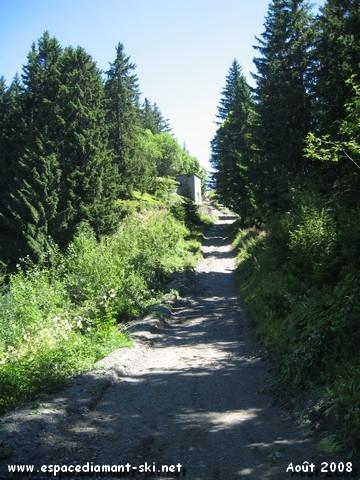 La dernière partie du sentier, assez raide, constituant le tracé de l'ancienne rouge du Golet