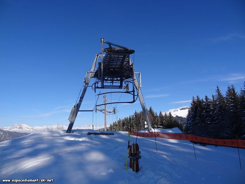 De face, avec la pointe du Mont Blanc qui dépasse à droite