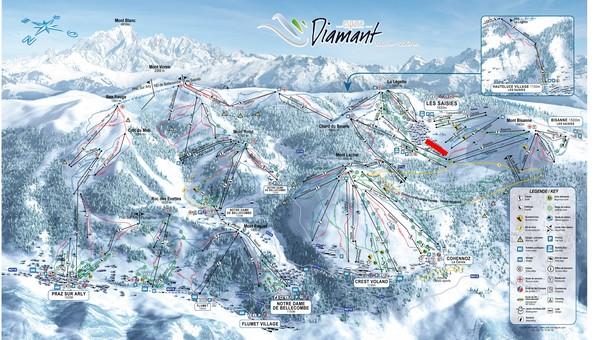Situation sur le plan des pistes de l'Espace Diamant
