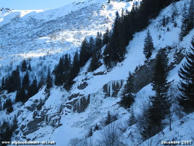 La suite de la ligne passe au-dessus des pistes Arête, Cascades et Alpages