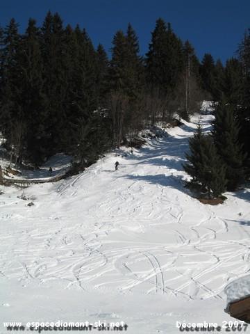 La piste noire de la Cubérotte ; tracé de l'ancien TK de la Légette