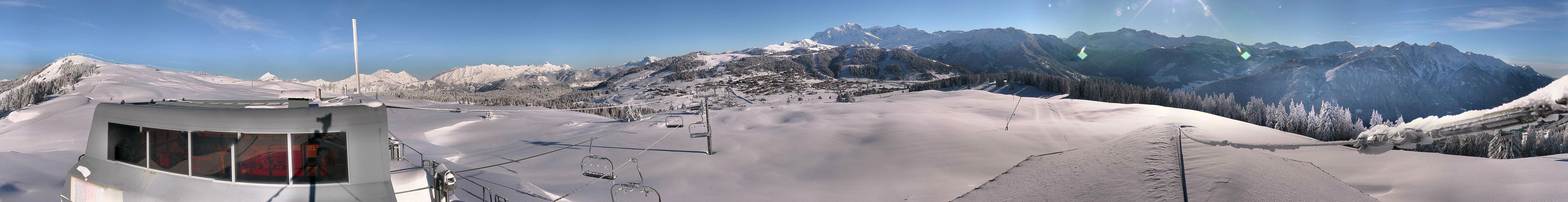 La Chaîne du Mont Blanc depuis le sommet du Télésiège du Manant
