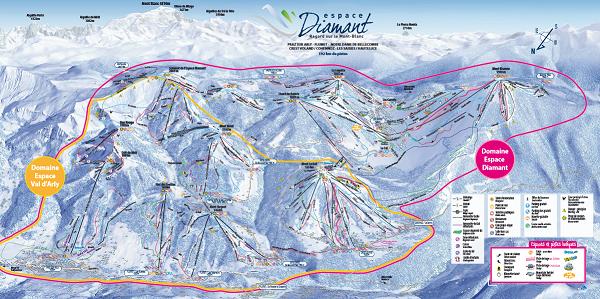 Le plan des pistes de l'Espace Diamant