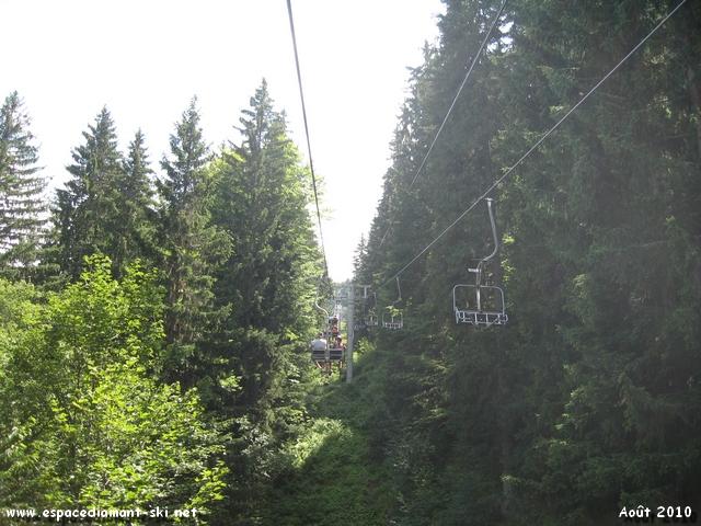 Le Télésiège s'enfonce de nouveau en forêt...