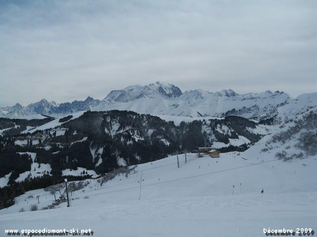 Vue sur la Chaîne du Mont Blanc depuis le secteur du Quézet