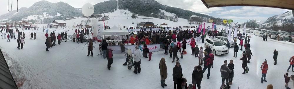 Animations sur le front de neige des Varins à Praz sur Arly pour le départ de la 5e étape