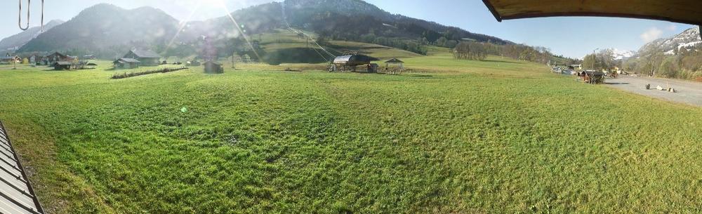 700 mètres de dénivelée plus bas, l'herbe est en revanche toujours aussi verte !