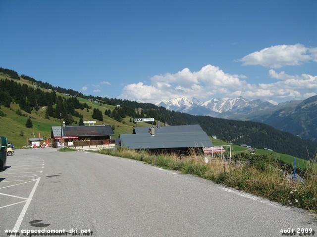 Depuis le haut de la station, vue sur le Mont Blanc